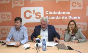 Francisco Javier Martín, José Ignacio Delgado y Elia Salinero, de Ciudadanos.
