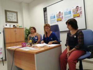 Acción Social. Primera rueda de prensa de Cristina Valderas. Campaña de Prevención de agresiones sexistas